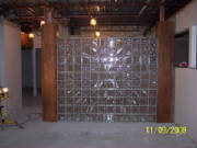 Block glass wall done by Kevin Holler at Holler Glass Block Minneapolis St Paul blockglass company minneapolis 8328 fairfield rd brooklyn park mn, coon rapids, quick set panels can't do this. .JPG
